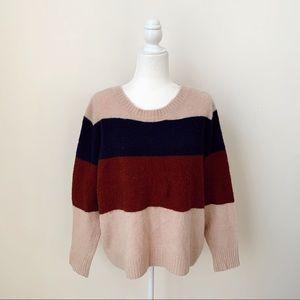 American Eagle Striped Color Block Sweater
